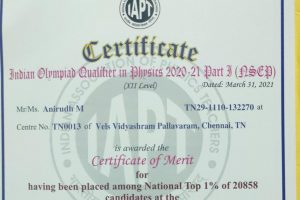 Anirudh M is awarded the Certificate of merit at the Indian Olympiad Qualifier in Physics