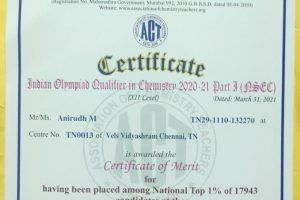 Anirudh M is awarded the Certificate of Merit at the Indian Olympiad Qualifier in Chemistry