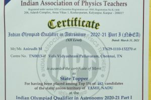 Anirudh M is awarded the Certificate of Merit as State Topper at the Indian Olympiad Qualifier in Astronomy